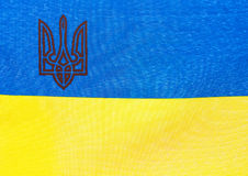 Stoffflagge von Ukraine Lizenzfreie Stockbilder