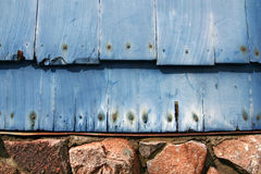 Stoffige Blauwe Houten Dakspanen stock afbeelding