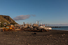 Stoffige bulldozer, die in Nieuw Zeeland werken Stock Foto's