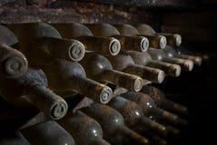 Stoffige wijnflessen die in een kelder wachten Stock Fotografie