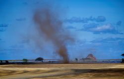 Stofstorm en luchtspiegeling Stock Foto's