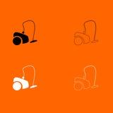 Stofzuiger zwart-wit vastgesteld pictogram Royalty-vrije Stock Afbeelding