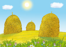 Stoga. Three yellow stacks at the meadow Royalty Free Stock Photo