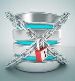 Stogare базы данных и концепция замка интернета цепи Иллюстрация вектора