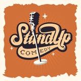 Stoi Up program komediowy etykietki plakata znaka Retro Amerykańskich lata siedemdziesiąte Zdjęcie Royalty Free