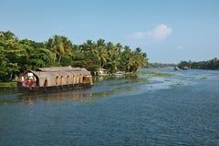 stojącej wody houseboat Kerala Fotografia Stock
