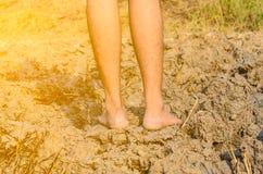 Stojący na suchej i krakingowej ziemi, jałowa ziemia Zdjęcie Stock