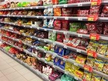 Stojak cukierek w sklepie 27 Oct, 2017, Rosja, miasto Rybin Obrazy Stock