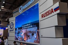 Stojak firmy Roscosmos Roscosmos firma państwowa dla Astronautycznych aktywność, Rosja fotografia royalty free