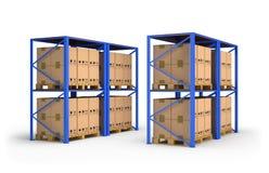 Stojaki z pudełkami obraz stock