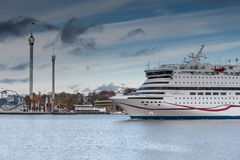 STOKCHOLM,SWEDEN-OCTOBER 26: The ferry Viking Line is moored at the mooring in the city of Stockholm,Sweden OCTOBER 26 2016. Stock Photography