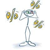 Stokcijfer met 3d glazen en vele percents Royalty-vrije Stock Fotografie