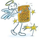 Stokcijfers als engelen met calculator en percenten vector illustratie