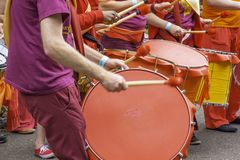 Drummers on LGBT pride event in Stoke on Trent, Uk stock photography