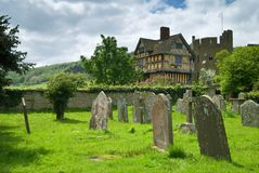 Stokesay Castle. A fortified manor house from the 13th century, view from adjacent churchyard Stock Photo