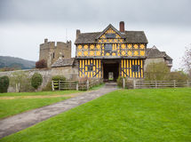 Stokesay Castle in Shropshire on cloudy day. Gatehouse entrance to Stokesay castle on a dark cloudy day Royalty Free Stock Photography