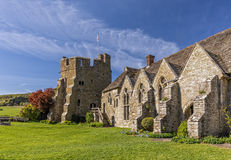 Stokesay Castle, Shropshire, England. The South Tower and Great hall of Stokesay Castle, one of the finest fortified medieval manor houses in England. The Stock Image
