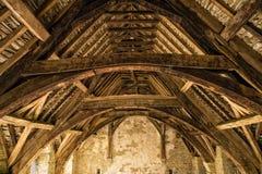 Stokesay-Schloss-Dach-Bauhölzer, Shropshire, England Lizenzfreie Stockbilder