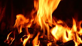 Stoking a Fire - Flames - Burning stock footage
