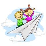 Stokjonge geitjes die Document Vliegtuig berijden stock illustratie