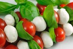 Stokken met tomaat en mozarella Stock Fotografie