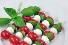 Stokken met tomaat, mozarella en basilicum Stock Afbeeldingen