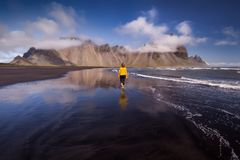 Stokksnes beach with Vestrahorn mountains in background in Iceland stock image