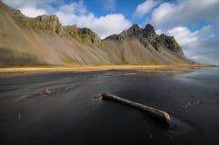 Stokksnes Mountains. Mountains behind a black sand beach near Stokksnes, eastern Iceland Stock Photos