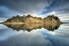 Stokksnes mountains reflected in Icelandic stock images