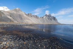 Stokksnes mountains. in Southeast of Iceland. Stokksnes is a headland on the southeastern Icelandic coast, near Hofn Royalty Free Stock Photography