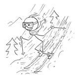 Stokmens die Extreme Ski doen Royalty-vrije Stock Afbeelding