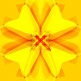 Stokrotka kwiatu mandala w jaskrawym barłogu, abstrakcjonistyczny tło w złocie, kolor żółty i pomarańcze, ilustracja wektor