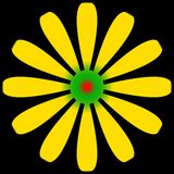 Stokrotki kwiatu kolor żółty i zieleń z czerwienią ześrodkowywamy ilustracja wektor