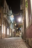 Stokstraat in Maastricht decorated for christmas stock photos