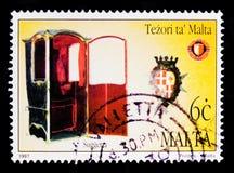 Stol för Cotoner Grandmasters`, skatter av Malta Serie för Sedanstolar, circa 1997 Arkivfoton
