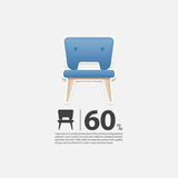 Stol i den plana designen för vardagsruminre Minsta symbol för möblemangförsäljningsaffisch Blå stol på vit bakgrund Arkivbilder