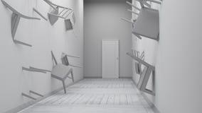 Stol inbäddad in i väggen 3d framför Arkivbild