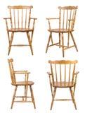 stol isolerat vitt trä Arkivfoto