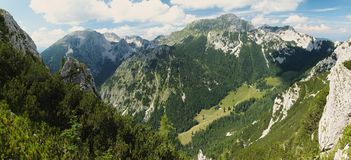 Stol mountain from hillside of Veliki Vrh in Karawanken mountains Stock Photo