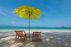 Stol på stranden Fotografering för Bildbyråer