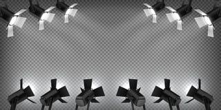 Stol p? etapp Konsertlampljus, realistisk flodljusstudioeffekt, konsertljus på genomskinlig bakgrund vektor royaltyfri illustrationer