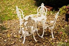 stolar arbeta i trädgården tabellen Royaltyfri Fotografi