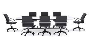 Stolar för kontor för konferenstabell och svart isolerat royaltyfri illustrationer