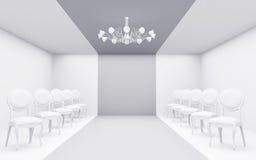 Stolar i vitt rum royaltyfri illustrationer
