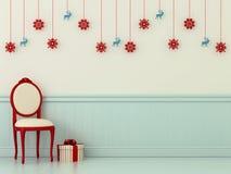 Stolar med julpynt royaltyfri illustrationer