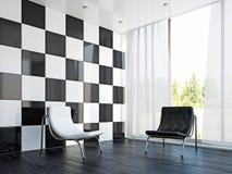 Stolar och en bordlägga i livingroomen royaltyfri illustrationer