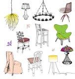 Stolar och lampor stock illustrationer