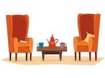 Stolar och tabell med kopp te eller kaffe, tekanna, kudde och bok vektor illustrationer