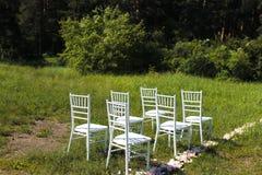 Stolar på bröllopceremoni Royaltyfri Fotografi