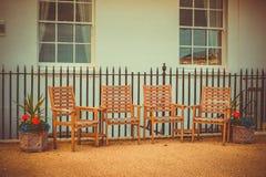 Stolar på terrassen arkivfoto